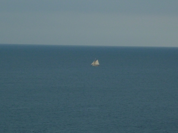 View of the sailboat from Minack Theatre