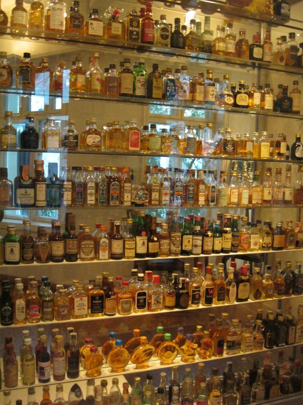 One of the shelves in the mini bottle museum. Lots of mini bottles!