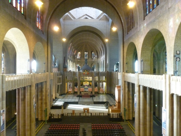 Looking down the nave, from the first floor balcony.