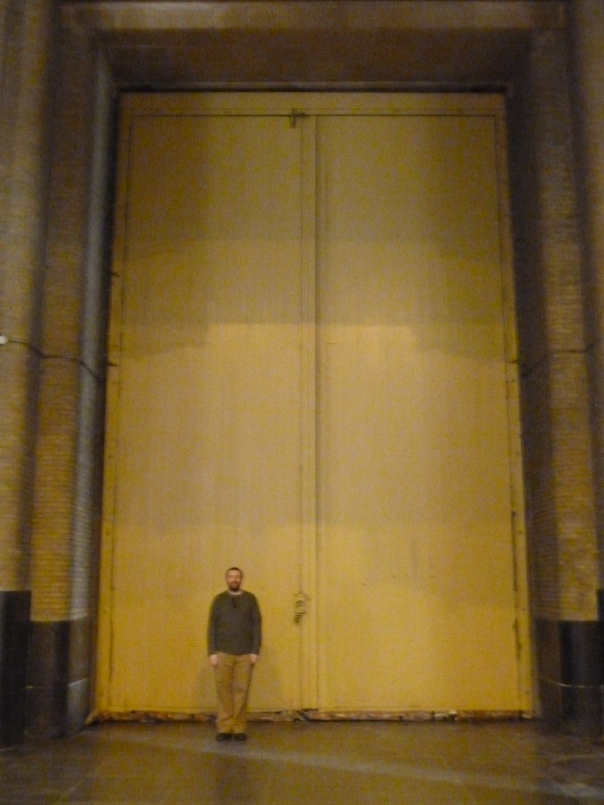 This is the interior of the front door. I had to have Alex stand there just to get the size comparison!