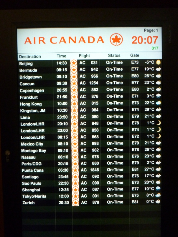 These were all of the long-haul international flights on their board - from Toronto they serve Asia, South America, the Carribbean, and Europe.  Air Canada is actually the 10th largest passenger airline in the world by some measures.