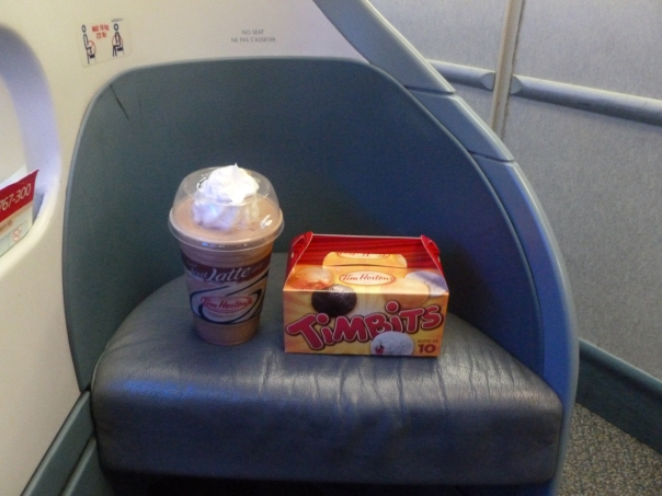 I got quite a lot of looks from the staff at the gate and the old flight attendants, but it was well worth it for a mint chocolate iced capp and some timbits!