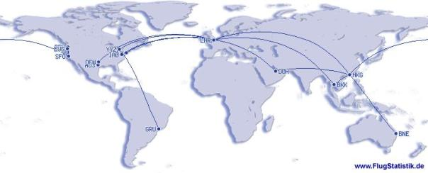 This summary map shows my 2012 flying - certainly the highlight was the trans-Pacific round trip between Hong Kong and San Francisco, shown by the arrow that goes off either end of the map!