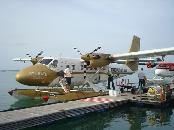 The Conrad's private seaplane, the only way to reach the island.