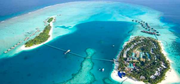 The Conrad Maldives Rangali Island resort, spread across two islands linked by a footbridge.