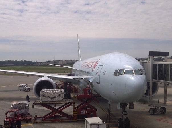 The Air Canada Boeing 777-300ER that took me from Toronto to Sao Paulo, after landing at Guarulhos International Airport (which, by the way, is probably one of the worst large international airports in the world, despite serving as the primary gateway to Brazil and most of South America).