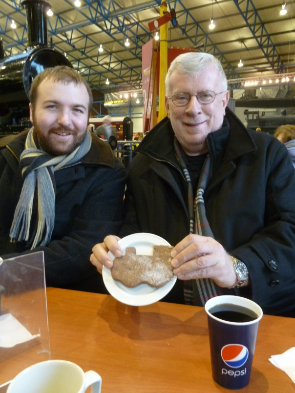 Bill and I at the National Railway Museum in (old) York, enjoying a train-shaped cookie.