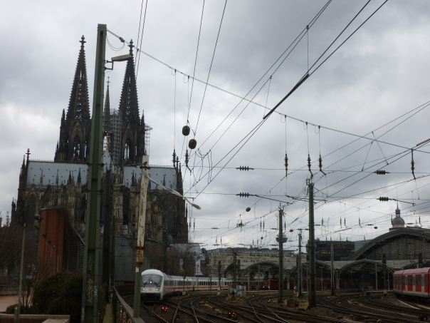 Cologne - a classic shot of cathedral and trains, just perfect for Astrid and I!