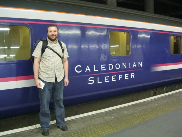 The overnight Caledonian Sleeper train from London to Scotland, at the end of the journey in Fort William, 12:40 after leaving London.