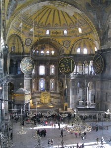 Looking down into the main space. It's fascinating because many of the Christian and Islamic remnants are still visible, coexisting side-by-side.