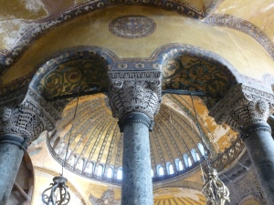 A view of the arches that support the large, interior dome.