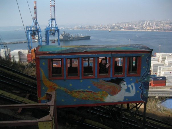 "Our time in Valparaiso (Chile, not Indiana, which we learned was named after this one following the naval Battle of Valparaiso in the War of 1812) was excellent.  Here you can see ""our"" ascensor, which scales the hill from the (working) port area to the neighborhood where our B&B was located.  The city rises spectacularly, in vivid colors, from the beautiful harbor."