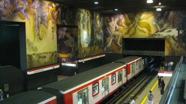 To round out five highlights, how could I not include a transit picture?  This is the Universidad de Chile Metro Station in Santiago, with some amazing artwork inside a very 1970s station on what is one of the busiest metro lines in the world.  It is interesting that Santiago (like Montreal, but perhaps less easy to understand) bought into the French rubber-tired metro technology in the 1970s, and so have narrow trains with whooshing sounds and no screeching!