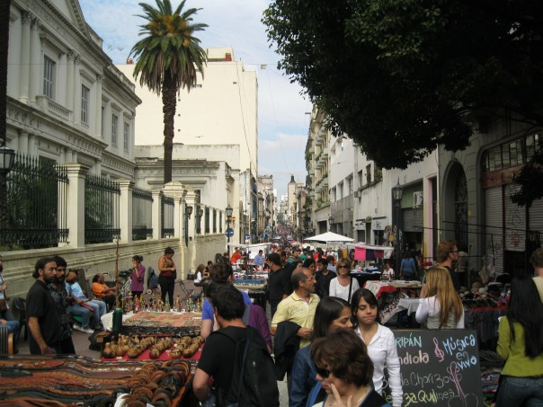 Looking down the street toward Plaza Dorrego. It was full of stalls, as well as wandering food vendors with empanadas in hampers.