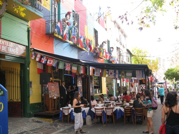 One of the many touristy restaurants in Caminito. Bright, colorful, and totally fake.