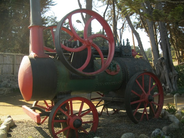 The train engine which Neruda had hauled to his home. It sits in the front yard.