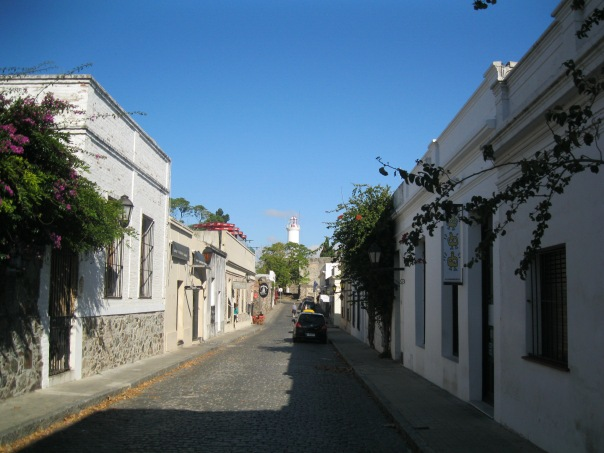 One of the scenic streets in the historic part of Colonia. The white adobe (?) buildings were very typical of the town.