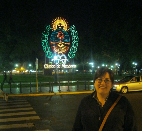 The night we arrived. The main square has the city crest displayed in lights, directly across from our hotel.