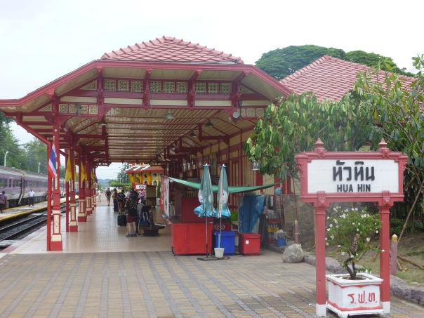 Hua Hin Railway Station, supposedly the most beautiful in Thailand, was a welcome sight after more than 18 hours on the train!