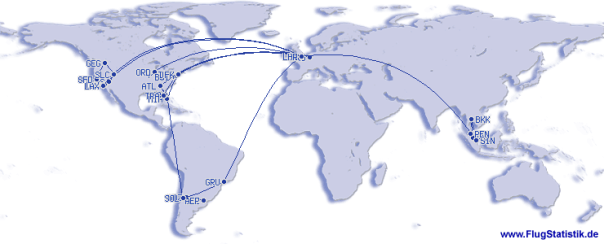 This map shows my 2013 flying – it is a bit simpler than 2012 with nothing trans-Pacific or to Australia.