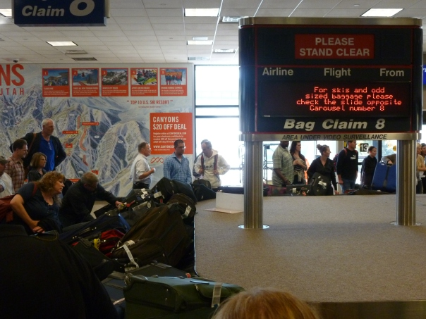 My first time in Salt Lake City started with massive congestion at the airport, specifically the baggage claim belt.  It was so jammed that people couldn't pry their luggage loose!