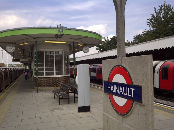 Hainault is on the opposite side of the Central Line, on a loop that opened in 1948 on a former railway line, with an appealing sort of art deco / moderne combination look to it. Beyond here only one train every 20 minutes around the last part of the loop, which has the least-used station on the whole network (Roding Valley, with an average of just 575 total passengers per day).