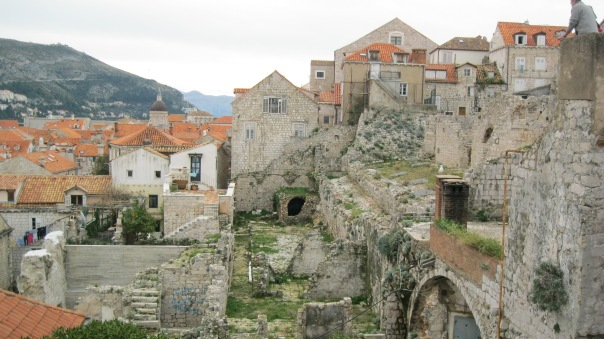 This is the part of old town Dubrovnik most damaged (and not yet repaired) by the siege in 1991-1992.
