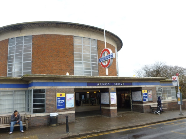 Just three stops down the line, this was the temporary terminal of the line from 1932 to 1933 and is probably the finest example of the modern London Underground architecture of the time.  In the cutting below it has three tracks with two island platforms, and some trains still terminate here (during the day, 3 of 21 trains per hour turn back here with the rest going on to Cockfosters).