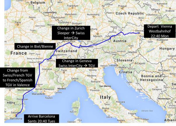 The rough path of my train journey over 22 hours with four changes (5 total trains).