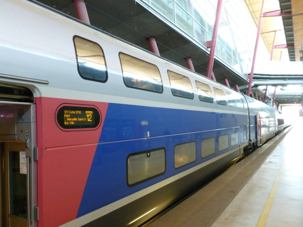 This was my train from Geneva to Valence, which was continuing on to Nice. I had a single seat on the upper deck in one of the first class cars. The trains each have eight cars plus a power car at each end and go up to 200mph.