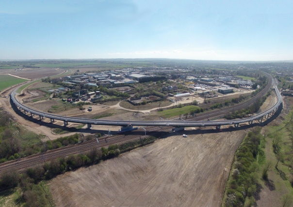 The new Hitchin Flyover, which opened about a year ago to enable trains from London to Cambridge to turn off the East Coast Main Line without having to cross the southbound tracks (c) Network Rail by Marcus Dawson
