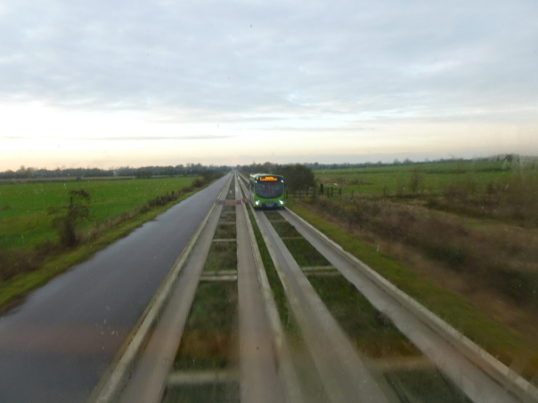 Here we are about to pass a single-decker. Despite the narrow width we pass at high speeds very close together!