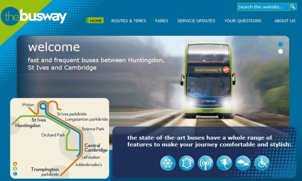 This is a screenshot of thebusway's website, where they try their best to make buses look cool! You can see the route layout on the left as well.