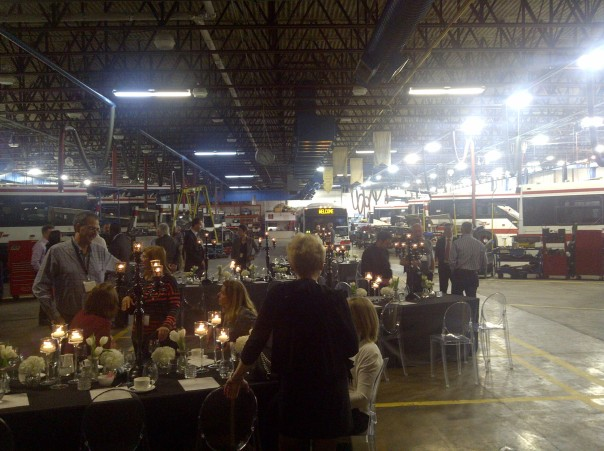 Have you ever had a formal dinner in a bus maintenance workshop? I have to say it was quite unique and better than you would imagine thanks to the imagination and hard work of the proud hosts!