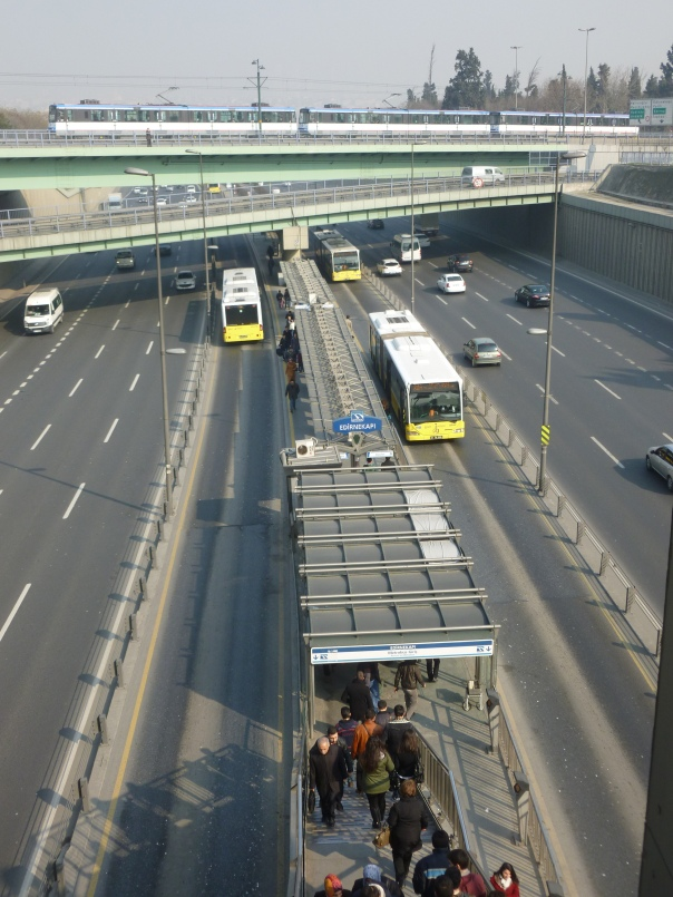 Istanbul has developed a very diverse transit infrastructure in recent years, with a lot more to come - this is the absolutely astonishing Metrobus, which is a 31-mile line in the median of a very busy expressway (sort of like Istanbul's beltway).