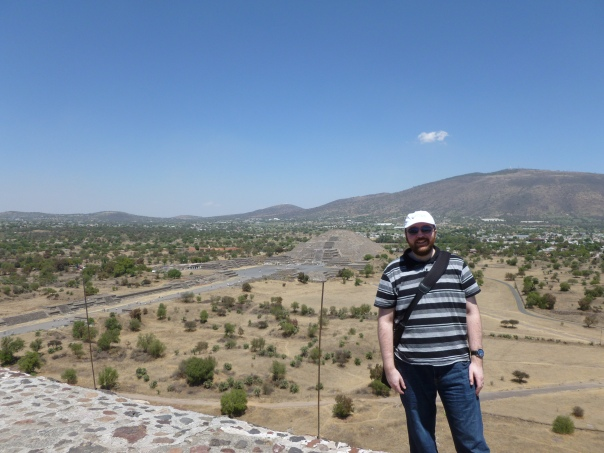 On the Saturday our group was taken to Teotihuacan, the site of the famous pyramids less than an hour north of Mexico City. Here I am at the top of the Pyramid of the Sun after a climb of more than 200 feet in the hot sun. Behind me is the shorter Pyramid of the Moon.