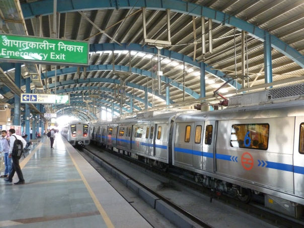 The metro system in Delhi is truly transforming a city, skipping lots of steps in between from people on foot or animal to very fast and modern travel through the city. The system only started operating in 2002, and already trains have been extended from 4 cars to 6 cars (as shown here on the Blue Line) and to 8 cars on the very busy Yellow Line, which is the maximum length. I wonder if it should have therefore been designed for 10 or 12 cars then?