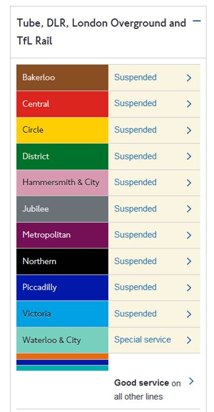 At first I thought the statement at the bottom was just a little bit ironic, but then I realized that some non-tube rail services, like the separate Docklands Light Railway and London Overground networks, were still running!