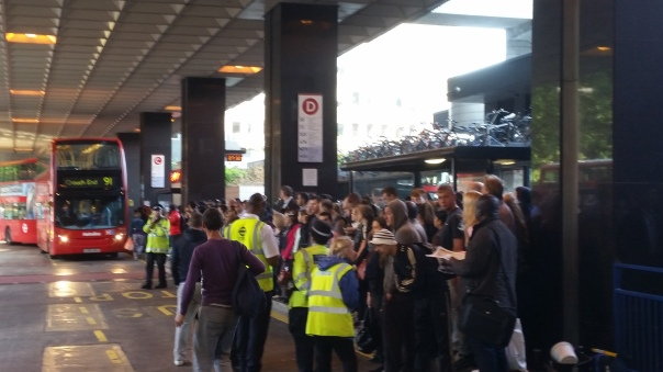 As I walked past Euston Station at 7:30 this morning, there were already big queues waiting for buses to take people onward to their destinations in the city...