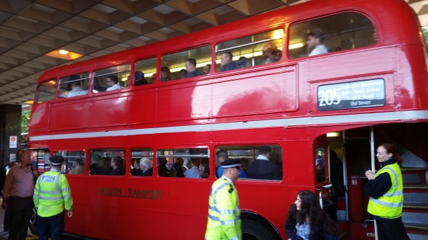 In addition to some non-red buses (gasp!), TfL also pressed some old Routemasters into use - here is one operating on the 205 route which runs parallel to the original 1863 tube line serving Paddington, Marylebone, Euston, King's Cross St. Pancras, and near Liverpool Street railway terminals.